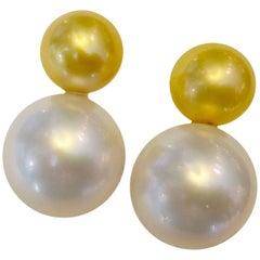 Michael Kneebone Golden and White South Seas Pearl Earrings
