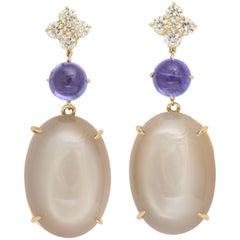 Moonstone Tanzanite and Diamond Earrings