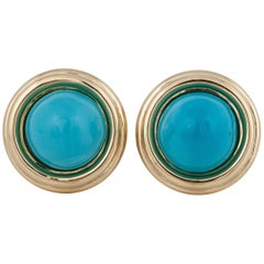 David Webb 18 Karat Turquoise Earrings