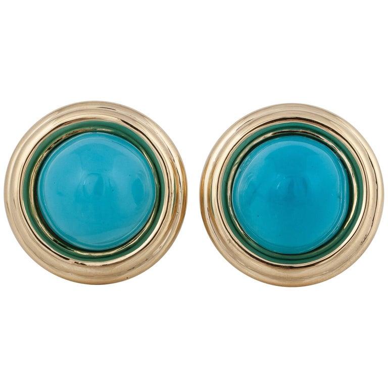David Webb 18 Karat Turquoise Earrings