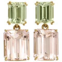 Donna Vock Morganite and Green Beryl Earrings