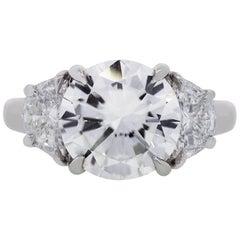 GIA Certified 3.45 Carat Round Brilliant Diamond Engagement Ring