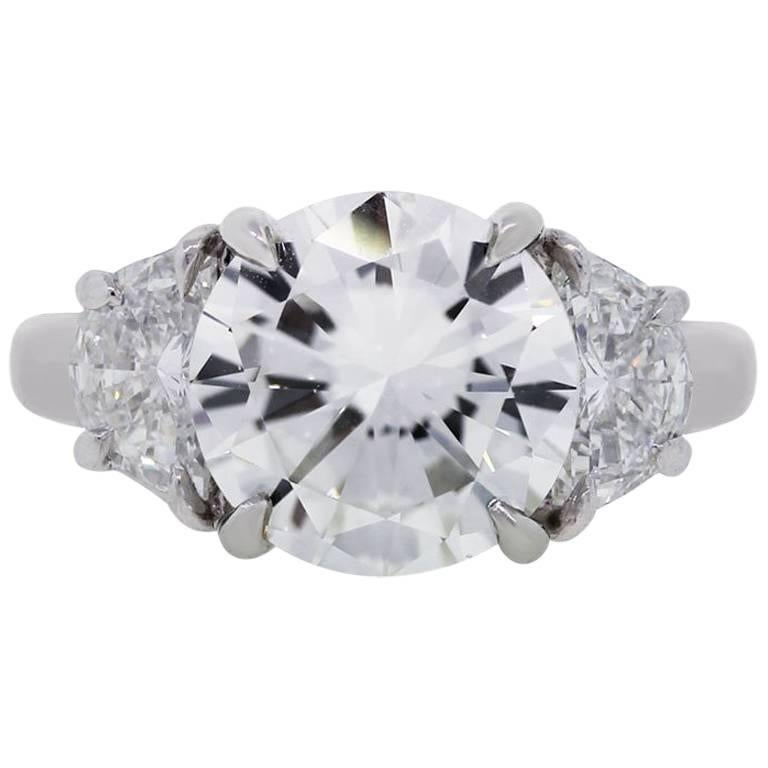 GIA Certified 3.45 Carat Round Brilliant Diamond Engagement Ring