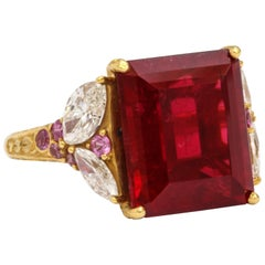 Donna Vock Red Rubelite Diamond and Pink Sapphire Hand Engraved 20K Gold Ring