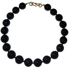 Statement Highly Polished Black Agate Necklace