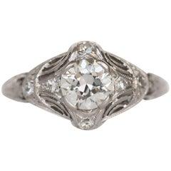 GIA Certified 0.60 Carat Diamond Platinum Engagement Ring