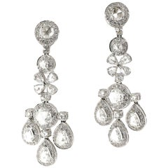 6.91 Carat of White Rose Cut Diamond Chandelier Dangle Earrings