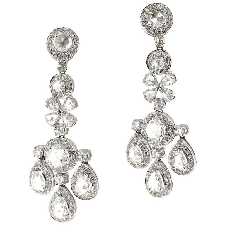 6.91 Carat of White Rose Cut Diamond Chandelier Dangle Earrings