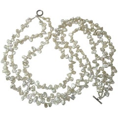 Triple Strand of Iridescent White Biwa Pearl Necklace with Sterling Silver Clasp