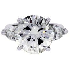 GIA Certified 5.03 Carat Round Brilliant Diamond Engagement Ring