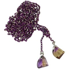 Lariat of Purple/Silver Color Chain and Two Sparkling Faceted Brazilian Ametrin