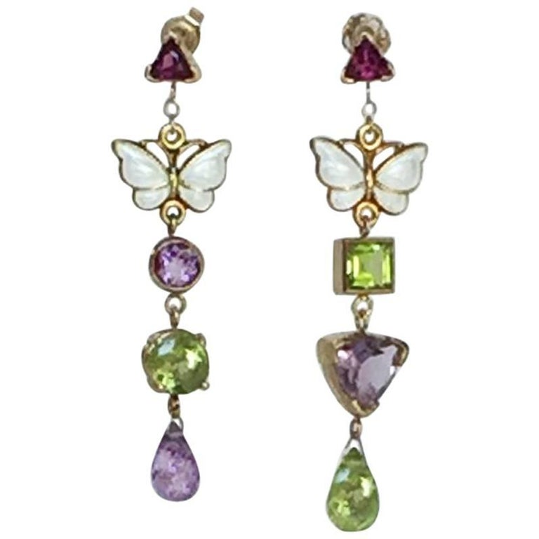 Garnet, Amethyst, Peridot, and Enamel Butterfly 14k Gold Earrings by Marina J