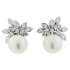 1950s South Seas Pearl 1.50 Carat VS Diamond Cluster Pierced Earrings