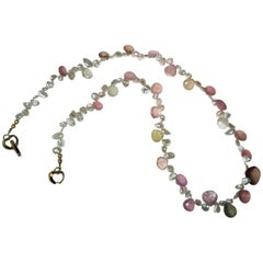 Choker of Multi-Color Natural Sapphire Biolettes and Freshwater Pearls