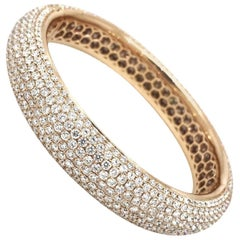 Wide Diamond Pave Rose Gold Bangle Bracelet