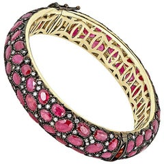 African Ruby and White Diamond Pave Gold Bangle Bracelet