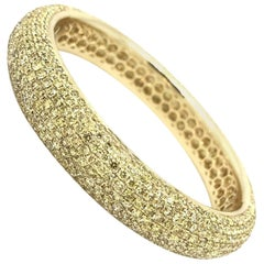 Wide Yellow Diamond Pave Bangle Bracelet with 24.36 Carat in 18 Karat Gold