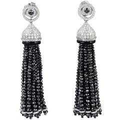 Black and White Diamond Tassel Earrings