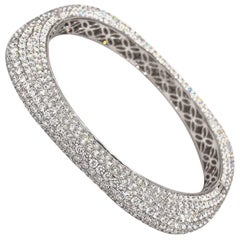 Rounded Square Diamond Pave Bangle Bracelet