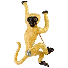 Tiffany & Co. Diamond, Sapphire and Enamel Monkey Brooch