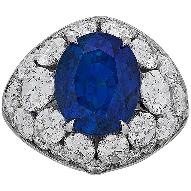10.30 Carat Untreated Burma Sapphire Diamond Ring