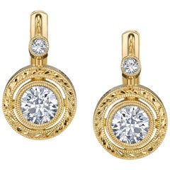 Diamond Yellow Gold Drop Earrings