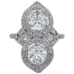 1.25 Carat and 1.20 Carat Double Diamond Engagement Platinum Ring