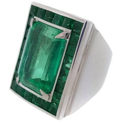 GIA Certified 17.23 Carat Colombian Emerald Cocktail Platinum Ring