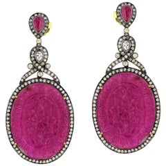 Carved Ruby Earring with Diamonds