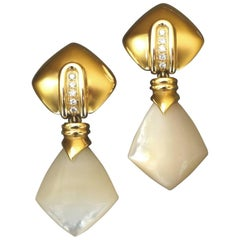 Antonini Detachable Long Diamond Mother-of-Pearl Gold Clip Post Earrings