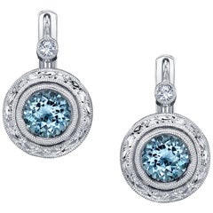 Aquamarine White Gold Earrings