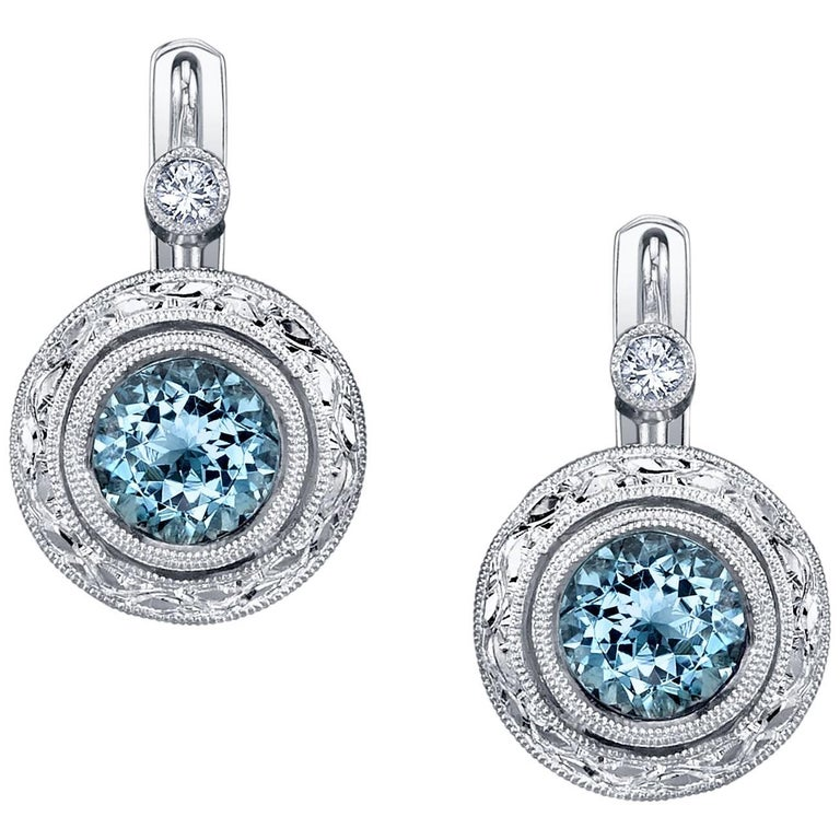 Aquamarine 18k White Gold Earrings For Sale