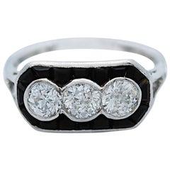 Art Deco Triple Diamond Onyx Platinum Ring
