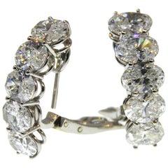 Van Cleef & Arpels Platinum Oval Diamond Earrings