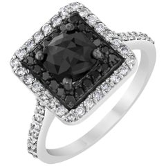 1.69 Carat Round Cut Black White Diamond White Gold Cocktail Ring