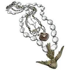 Saint Esprit Dove, Paste Heart Vinaigrette, Rock Crystal Layering Necklaces