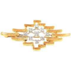 Vintage 14 Karat Gold and Diamond Brooch