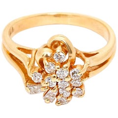 14 Karat Yellow Gold Heart Diamond Ring
