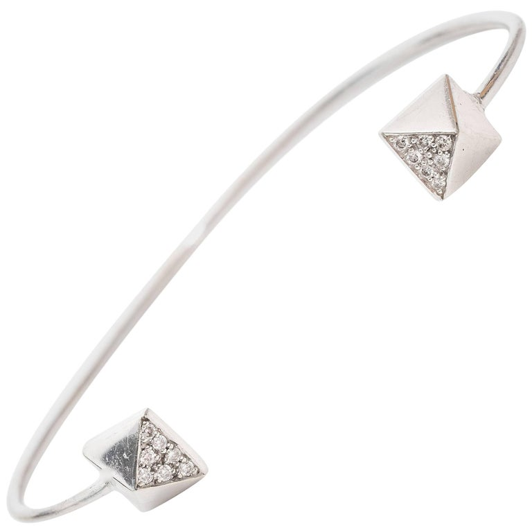 Diamond 14K Gold Cuff Bangle Bracelet