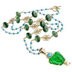 Venetian Glass Medusa Green Quartz Turquoise Necklace