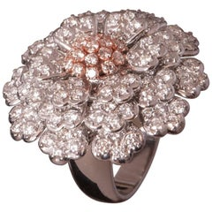 EGL Certified Floral Diamond Cluster Ring with White and Red Gold