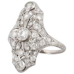 Deco Platinum Diamond Ring
