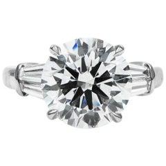 GIA Certified 3.50 Carat Round Brilliant Cut Diamond Platinum Engagement Ring