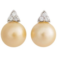 Ella Gafter Golden South Sea Pearl and Diamond White Gold Clip Earrings