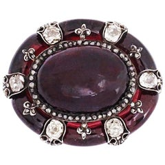 Antique English Victorian Garnet Diamond Brooch