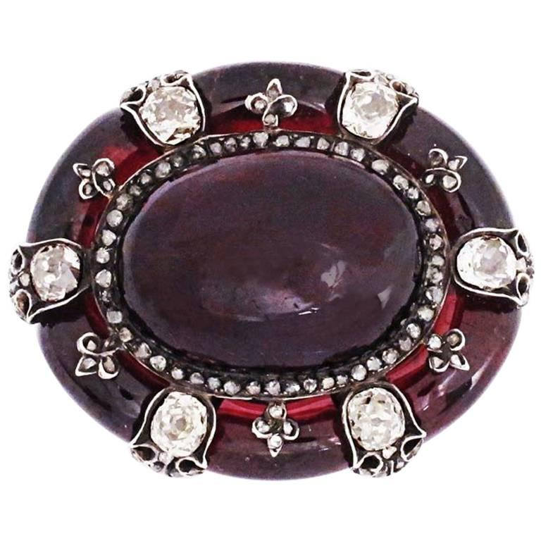 Antique English Victorian Garnet Diamond Brooch