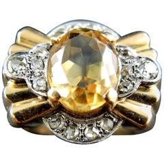 Retro Tank Citrine Diamond Ring