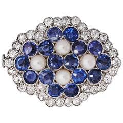 Edwardian Sapphire Diamond Pearl Platinum Brooch