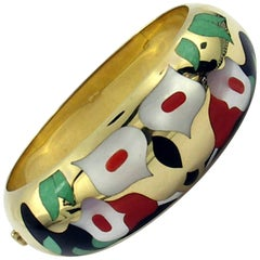 Asch Grossbardt Gold Bracelet with Aventurine, Coral, Mother-of-Pearl and Onyx