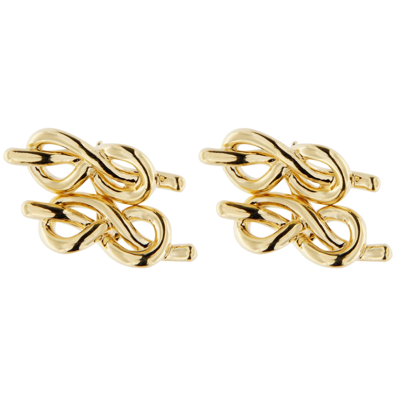 Jona 18 Karat Yellow Gold Knot Cufflinks